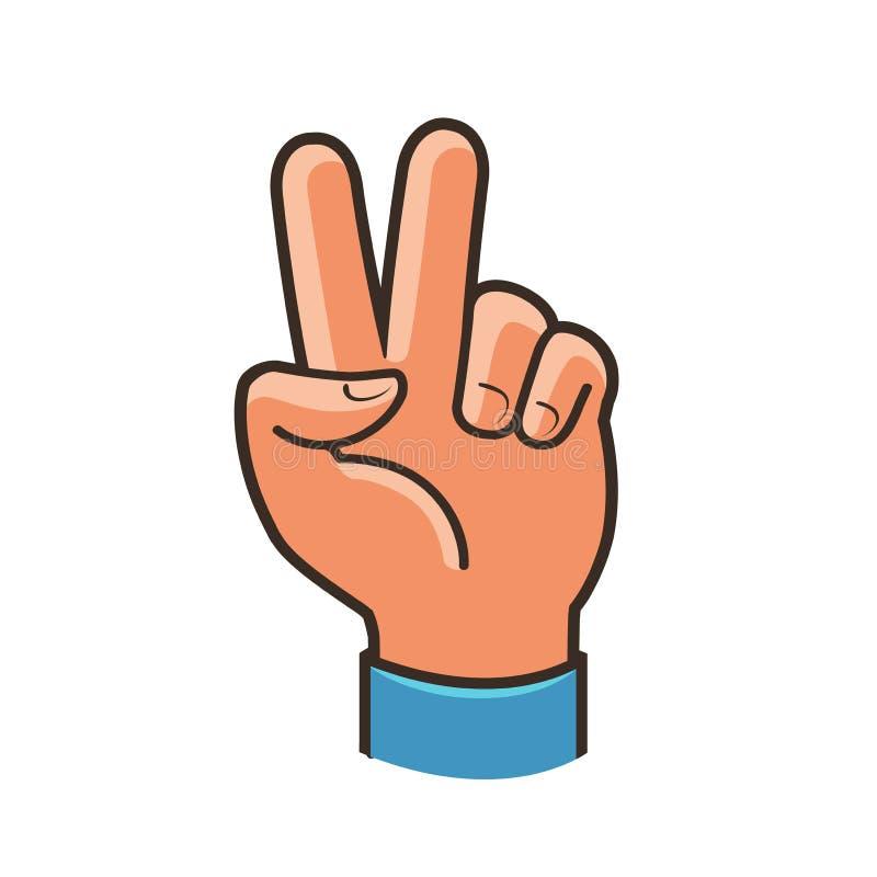 Overwinningsteken, gebaar Twee omhoog opgeheven vingers, vrede, winnend symbool stock illustratie
