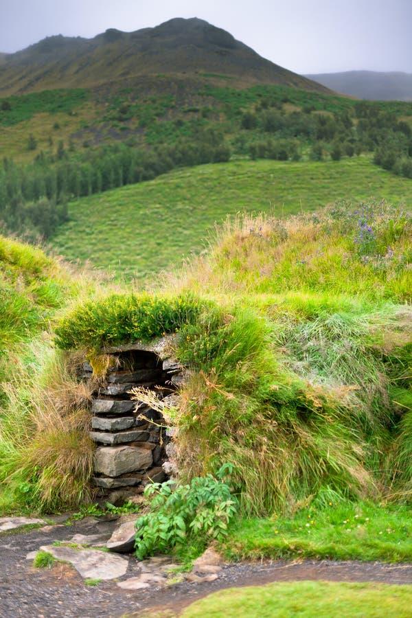 Overwoekerd Typisch Landelijk Ijslands Ondergronds huis royalty-vrije stock afbeeldingen