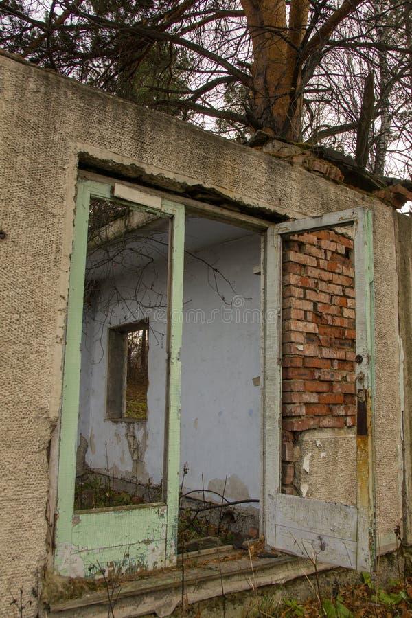 Overwoekerde oude schuur met houten gebroken deur stock foto's