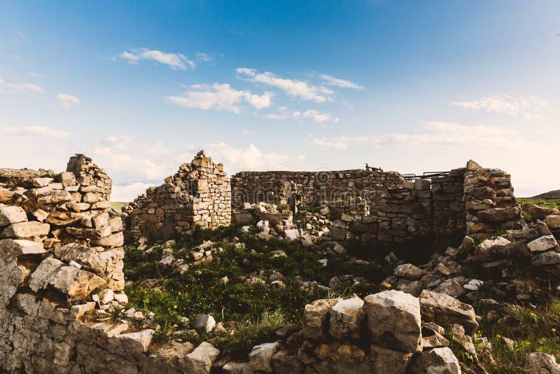 Overwoekerde verlaten steenruïnes in aard blauwe hemel stock fotografie