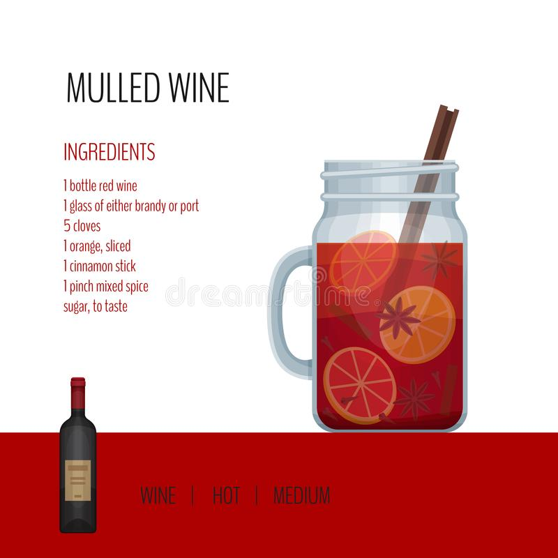 Overwogen wijn in metselaarkruik met recepten en ingrediënten Barmenu stock illustratie