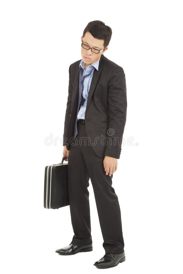 Overwork and exhausted businessman holding briefcase stock photos