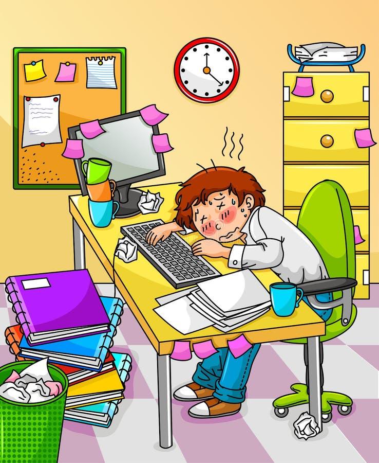 overworked работник иллюстрация вектора