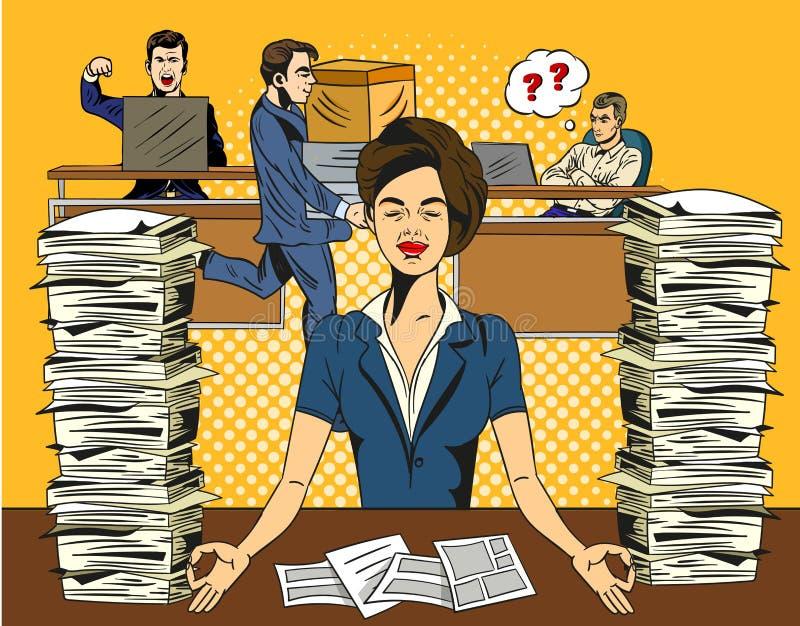 Overworked belastade affärskvinnan som kopplar av övande yoga i kontoret Meditera med stängda ögon till de-spänningen vektor illustrationer