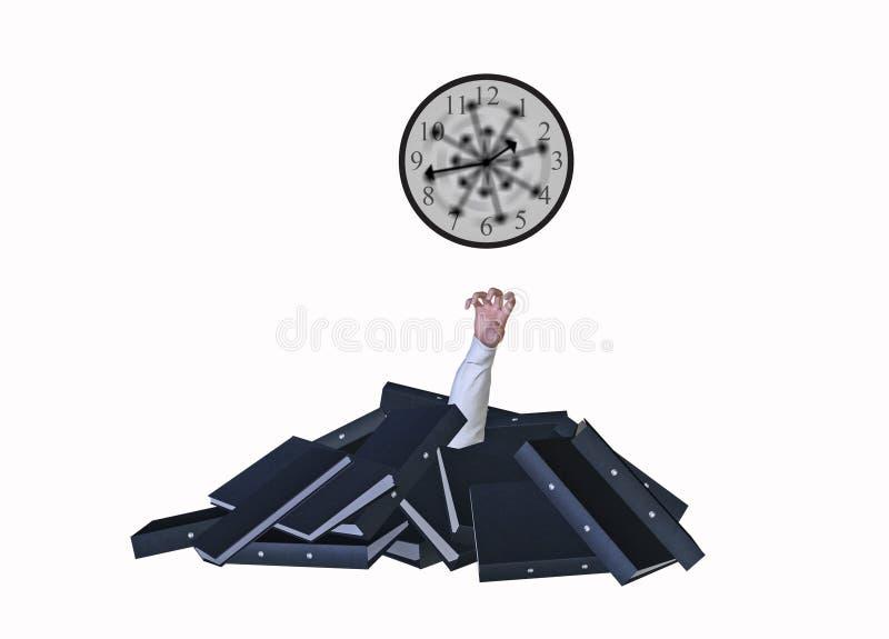 Overworked Buried Folders Working Around Clock Illustration vector illustration