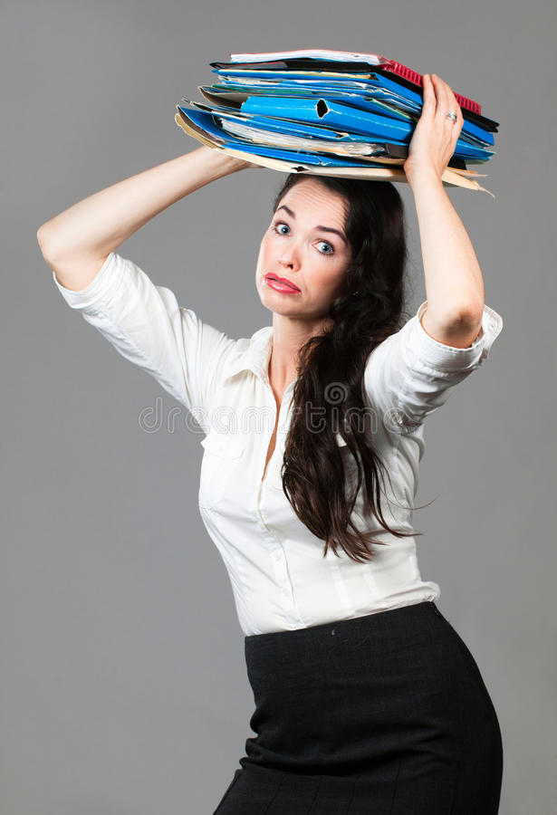 Download Overworked business woman stock image. Image of load - 24098193
