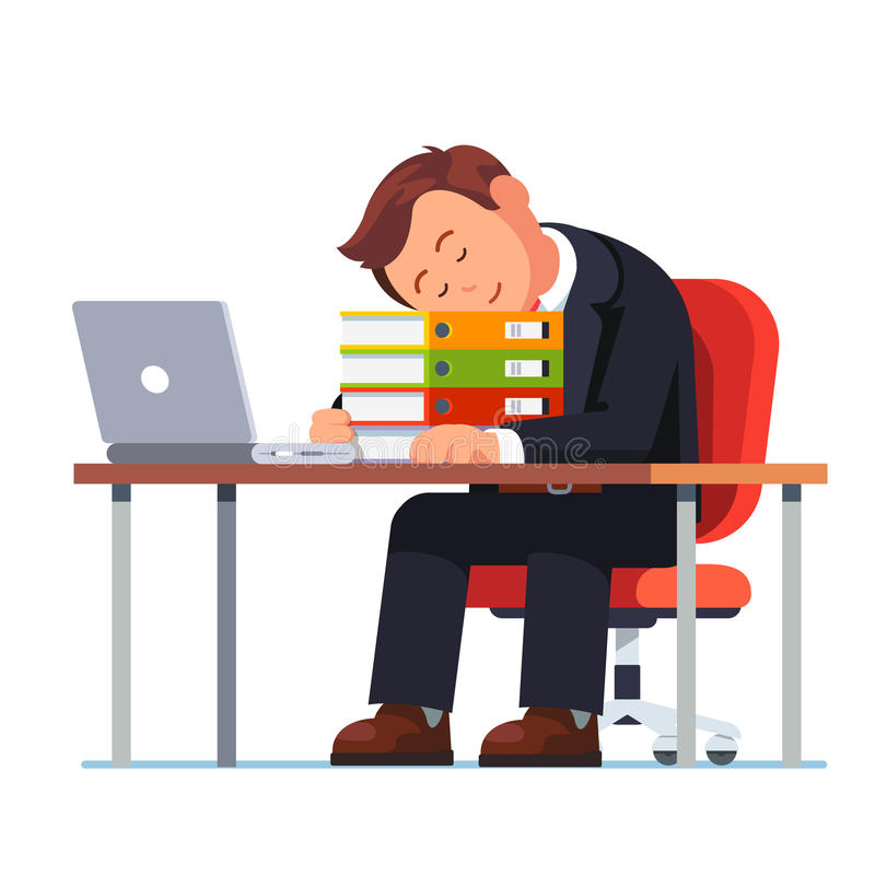 Overworked businessman falling asleep at his desk. Overworked businessman falling asleep on the pile of folders at his workplace desk. Tired and exhausted office royalty free illustration