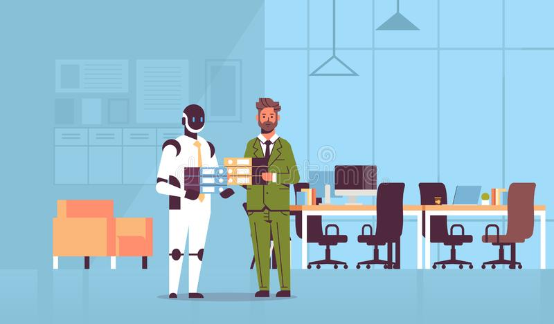 Overworked businessman and robot holding folder stack coworkers standing together paperwork artificial intelligence vector illustration