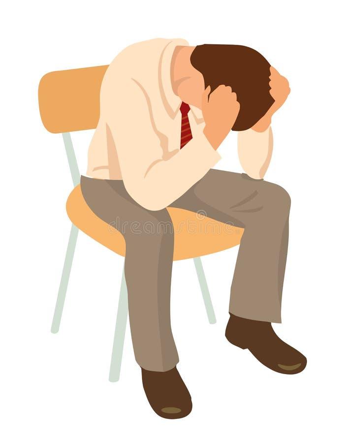 Overworked businessman is under stress with headache. Worried man vector illustration