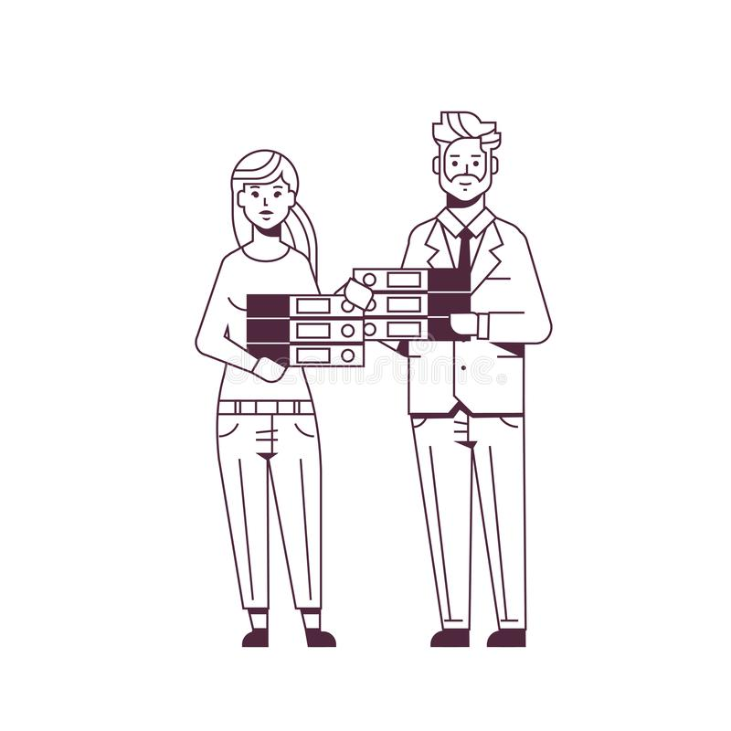 Overworked businesspeople man woman holding folder stack couple overloaded coworkers standing together paperwork concept royalty free illustration