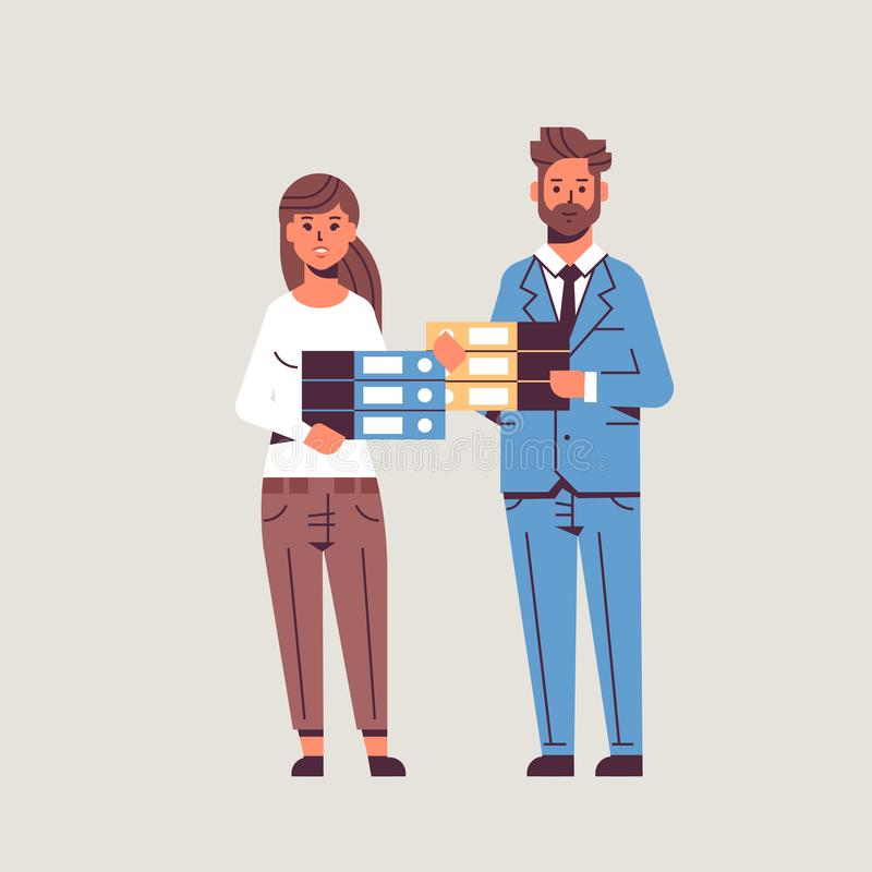 Overworked businesspeople man woman holding folder stack couple overloaded coworkers standing together paperwork concept vector illustration