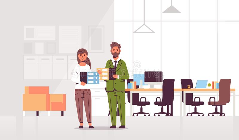 Overworked businesspeople man woman holding folder stack couple overloaded coworkers standing together paperwork hard stock illustration