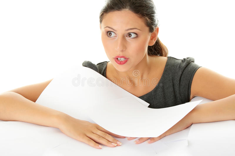 Overworked Businesswoman Stock Photography