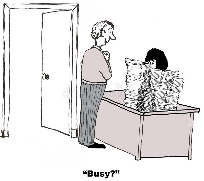 Overworked Businesswoman. The coworker asks if the businesswoman is busy stock illustration