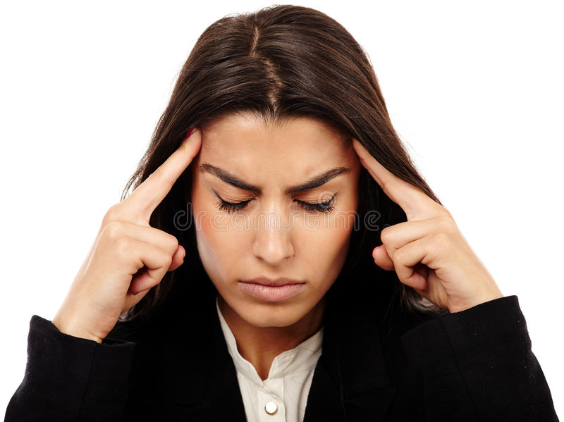 Overworked - businesswoman with strong migraine. Middle Eastern business woman with strong migraine isolated on white stock photo