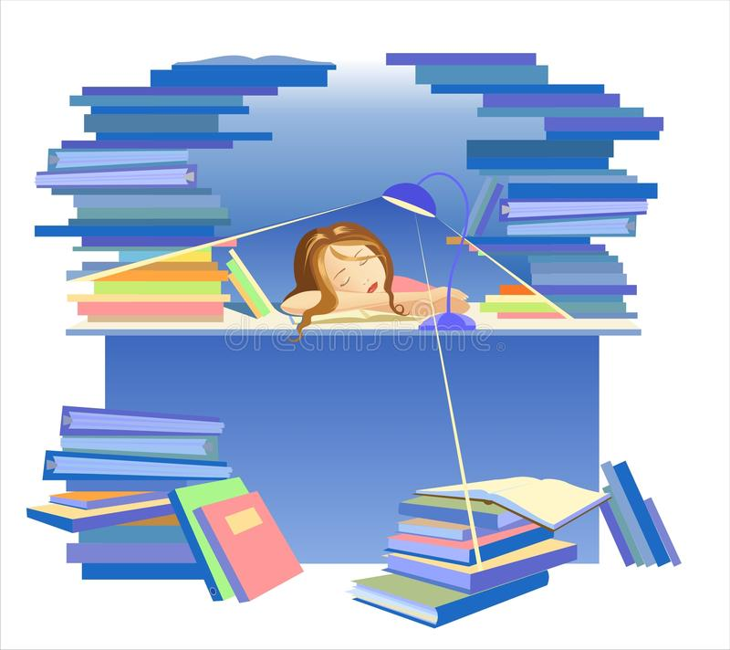 Download Overworked girl stock vector. Image of busy, hiding, female - 13685929