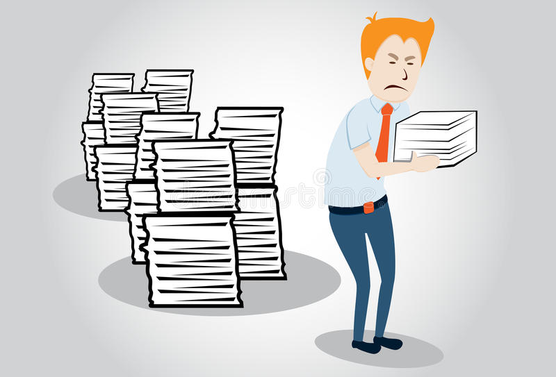 Overworked office manager. worker with heap of pap royalty free illustration