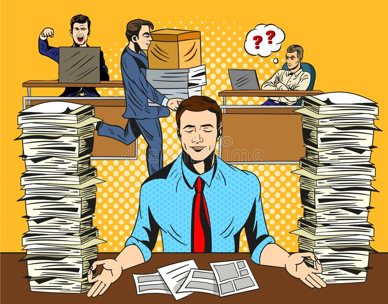 Overworked stressed businessman relaxing practicing yoga in the office, meditating with closed eyes to de-stress flanked royalty free illustration