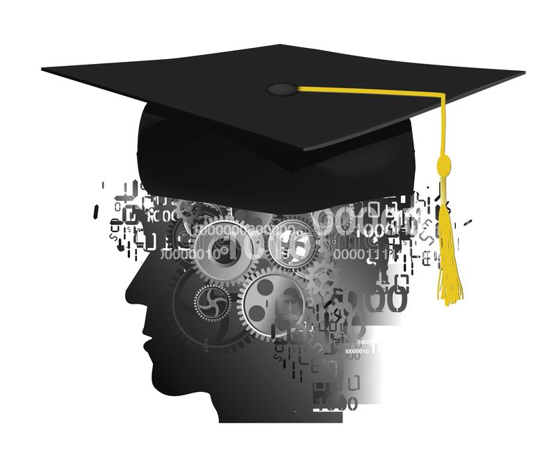 Overworked student with with Graduation cap. Stylized male head silhouette with Graduation cap, digital numbers and gear stock illustration