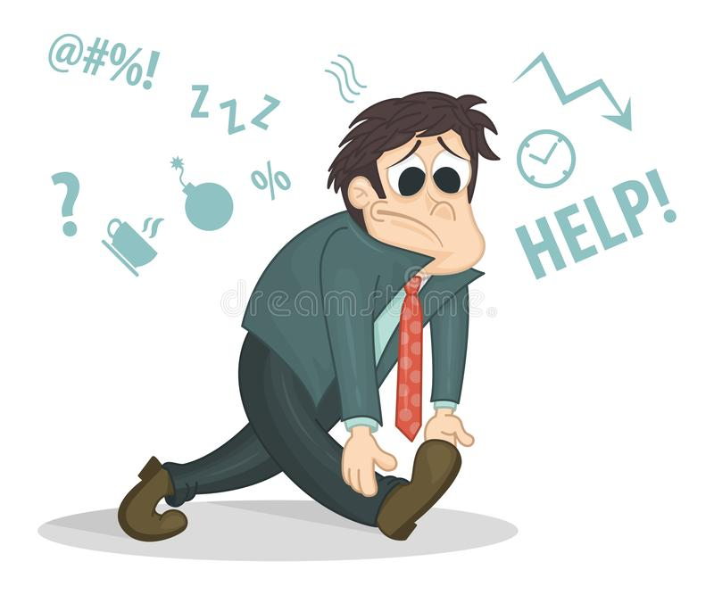 Overworked businessman or office worker walking with a sad face. Business stress. Cartoon style vector illustration. Con vector illustration