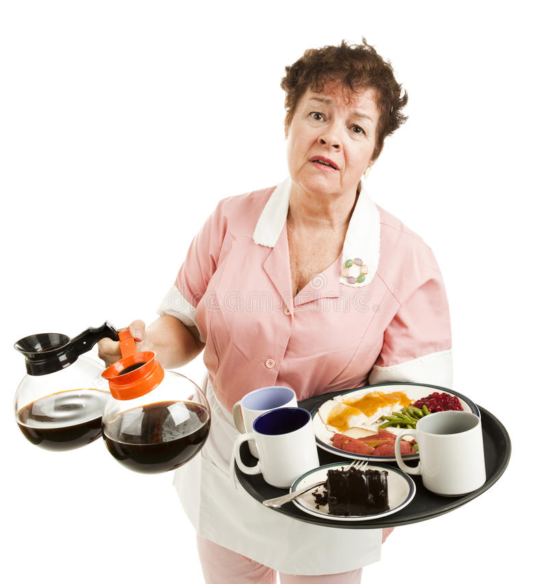 Overworked Waitress. Tired, overworked waitress trying to carry too many things. Isolated on white stock image