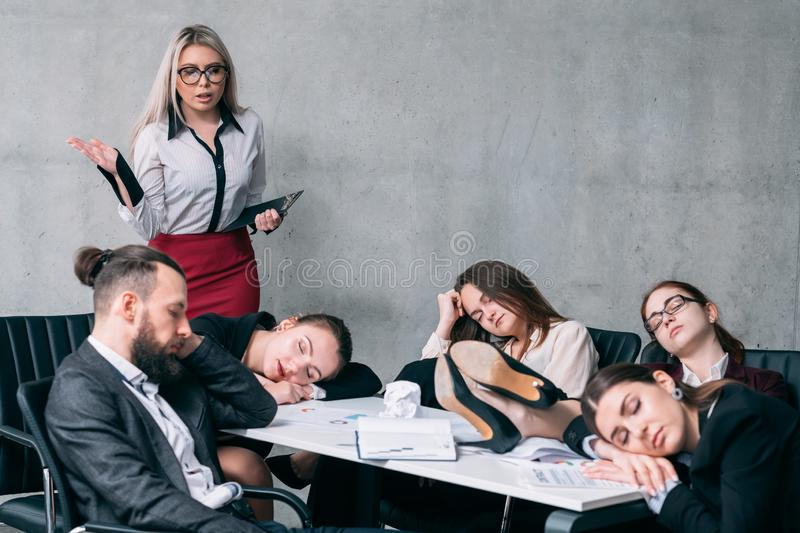 Overworking team sleep annual business report stock photos