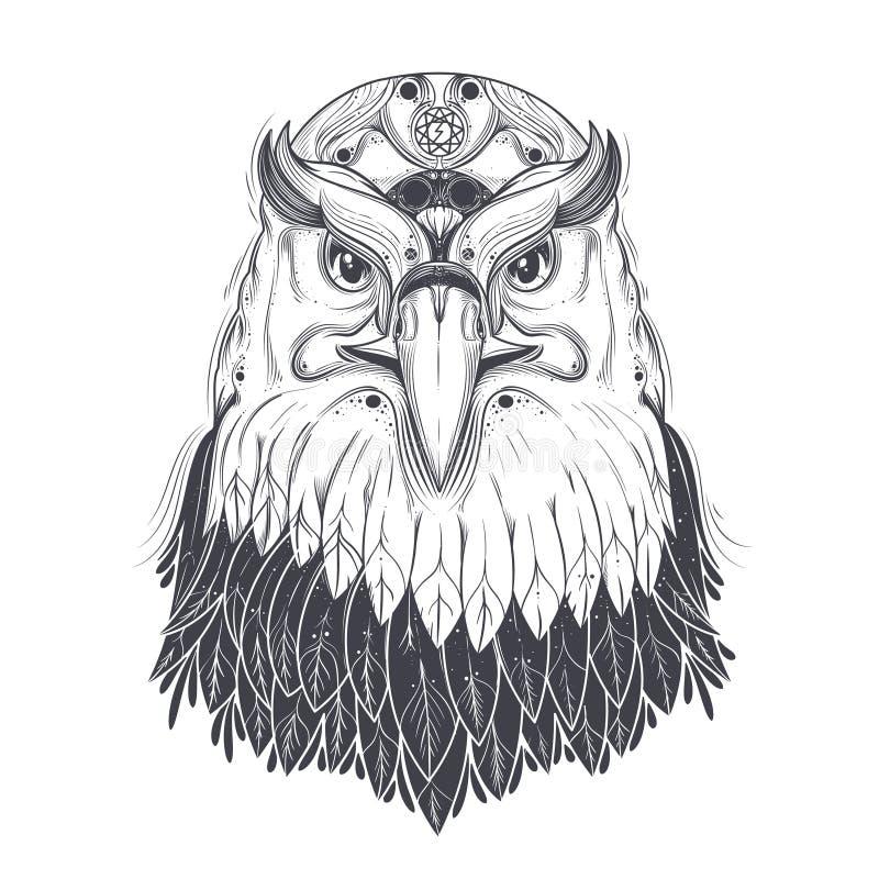 Overzees adelaarshoofd met heidense runen- symbolenvector royalty-vrije illustratie