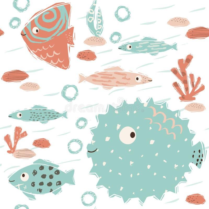 Overzees baby leuk naadloos patroon Zoete vissen en fuga, algen, koralendruk vector illustratie