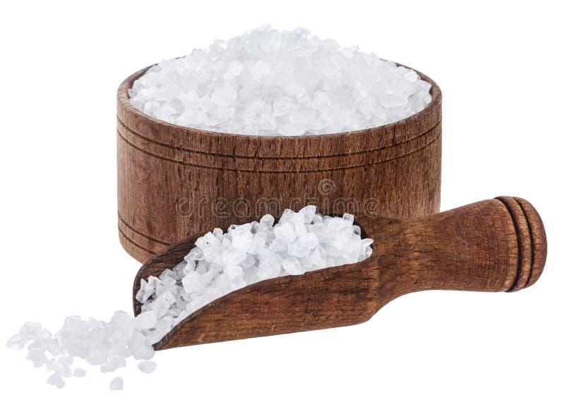 Overzees die zout op witte achtergrond wordt geïsoleerd royalty-vrije stock afbeelding