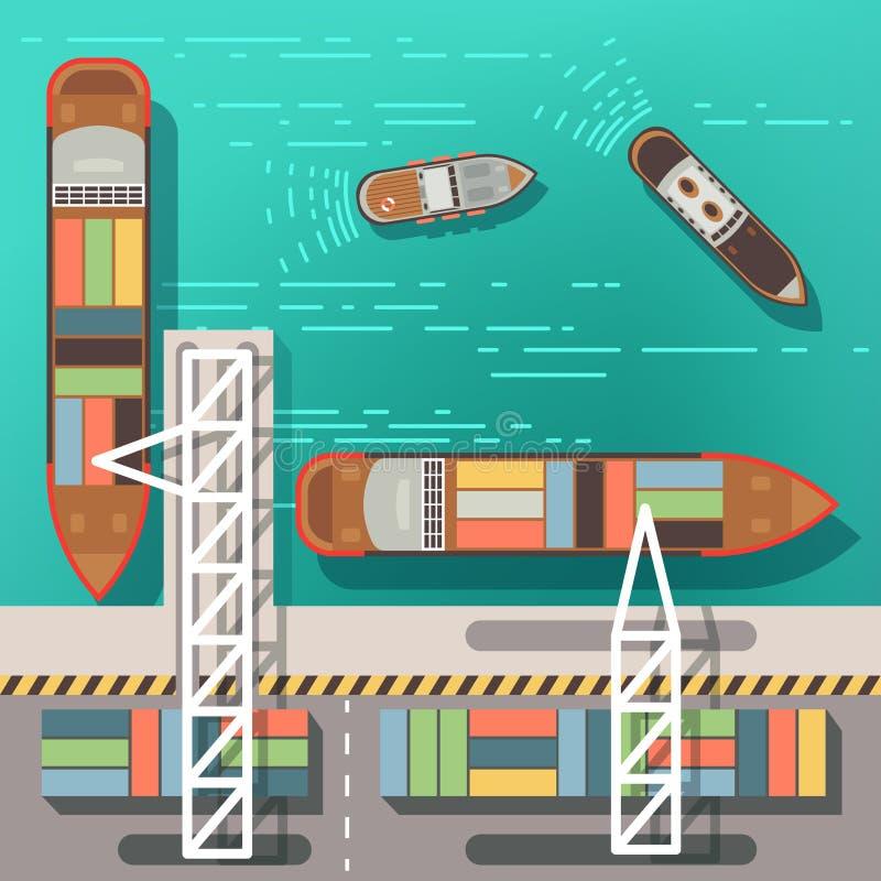 Overzees dok of ladingszeehaven met drijvende schepen en boten Hoogste menings vectorillustratie stock illustratie