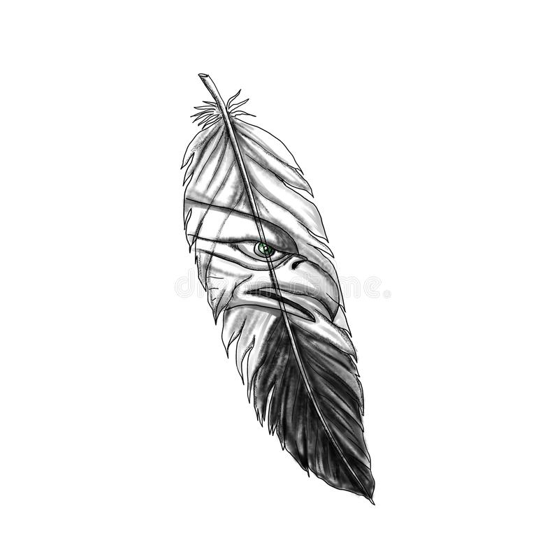 Overzees Eagle Feather Tattoo stock illustratie
