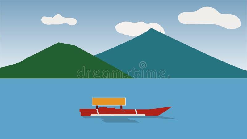 Overzees en berg royalty-vrije illustratie