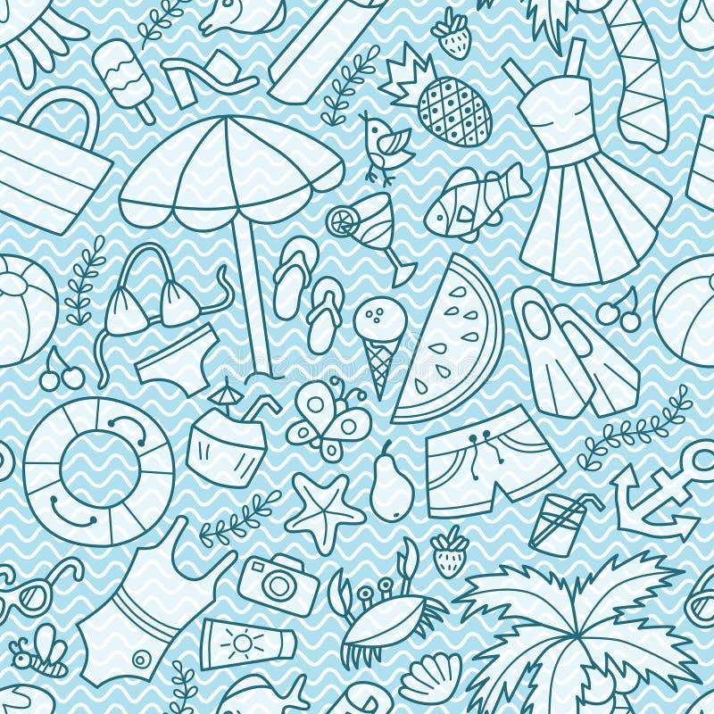 Overzees en de zomer Naadloos patroon in krabbel en beeldverhaalstijl Blauwe Golven stock illustratie