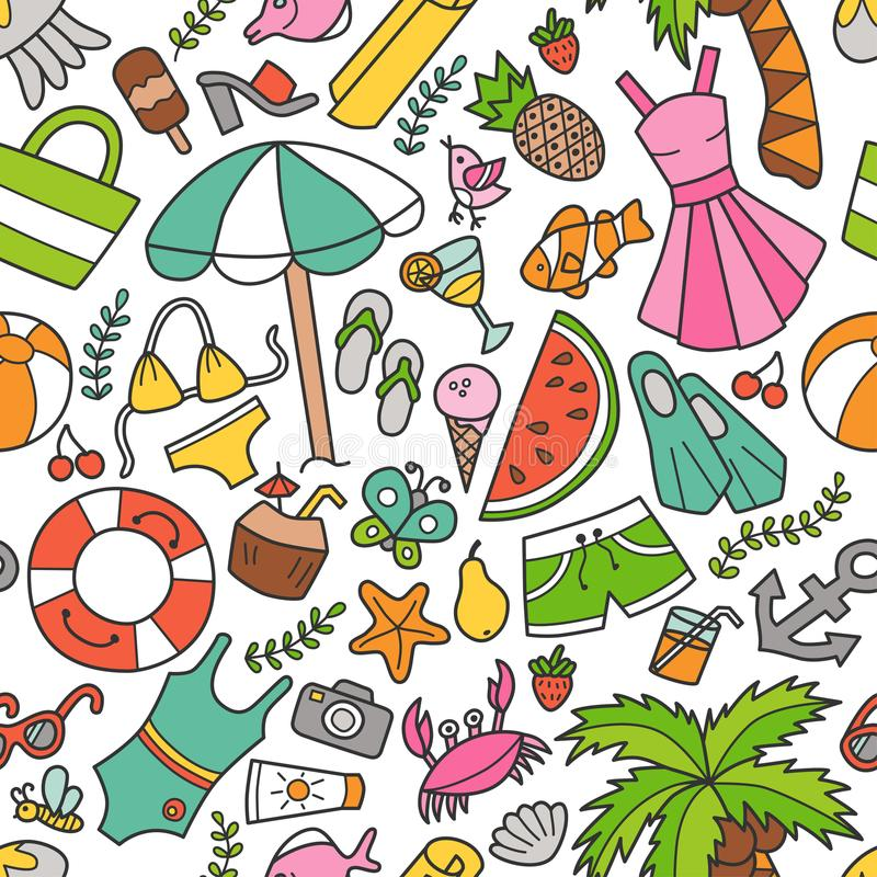 Overzees en de zomer Naadloos patroon in krabbel en beeldverhaalstijl kleur vector illustratie