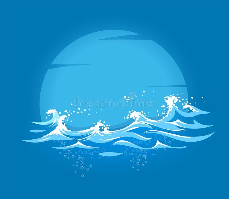 Overzees en oceaan mariene golven met schuim stock illustratie