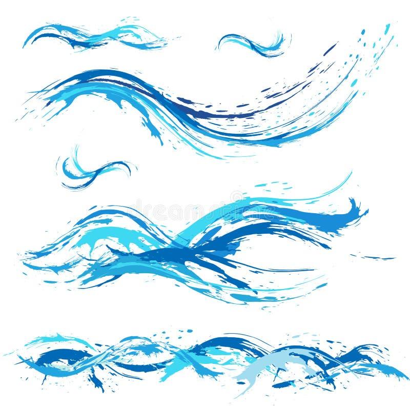 Overzees en oceaangolven, blauwe verfvlek, plonsen, dalingen stock illustratie