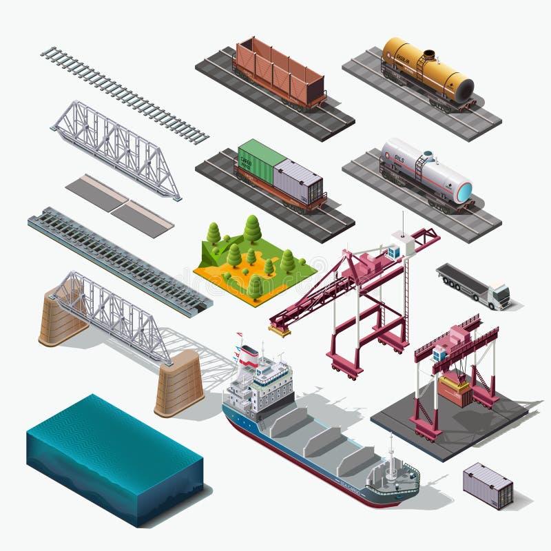 Overzees en spoorvervoer van goederen, leveringslading royalty-vrije illustratie