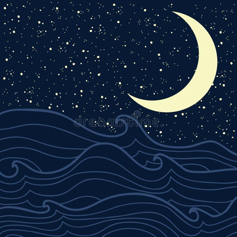 Download Overzees en sterrige nacht vector illustratie. Illustratie bestaande uit maan - 39111320