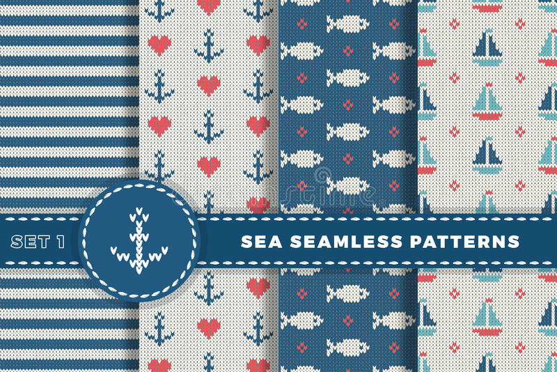 Overzees en zeevaartachtergronden in witte, turkooise, rode en donkerblauwe kleuren Overzees Thema Vastgestelde naadloze patronen royalty-vrije illustratie