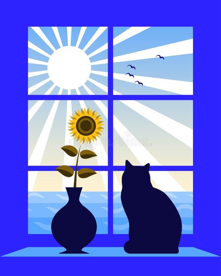 Overzees en zon buiten venster stock illustratie