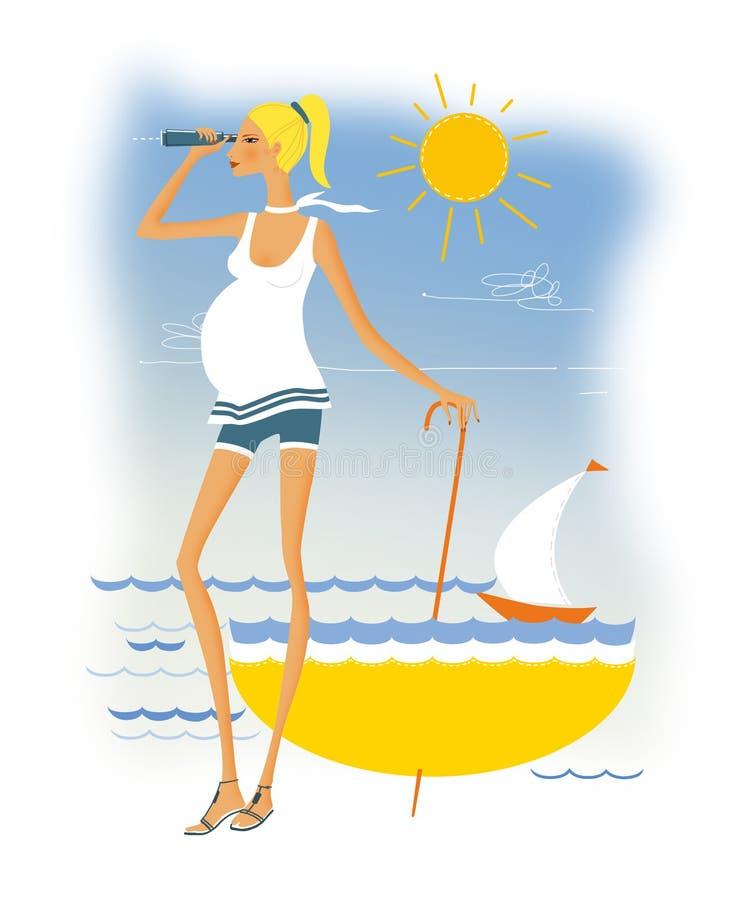 Overzees en zwangerschap De zwangere vrouw bevindt zich op de kust royalty-vrije illustratie