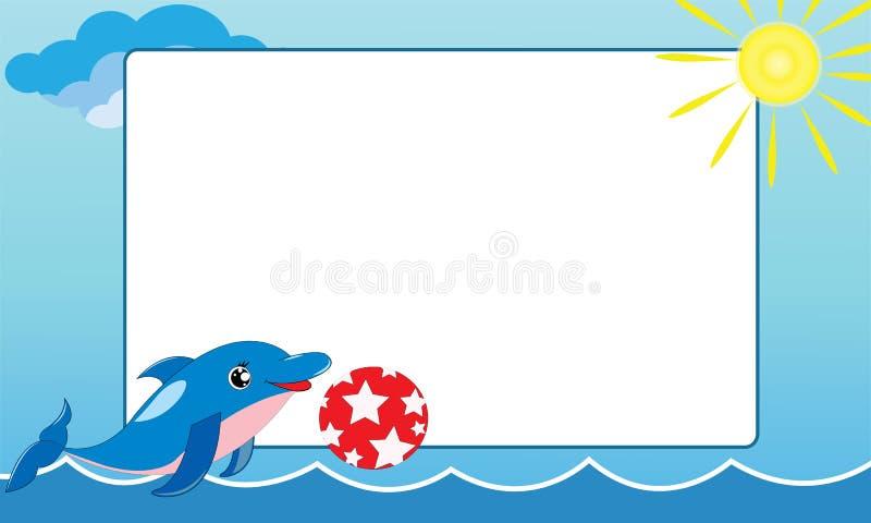 Overzees frame met kleine dolfijn stock fotografie