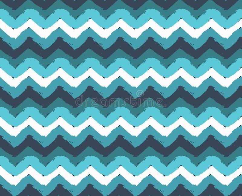 Overzees Geschilderd Zigzagpatroon vector illustratie