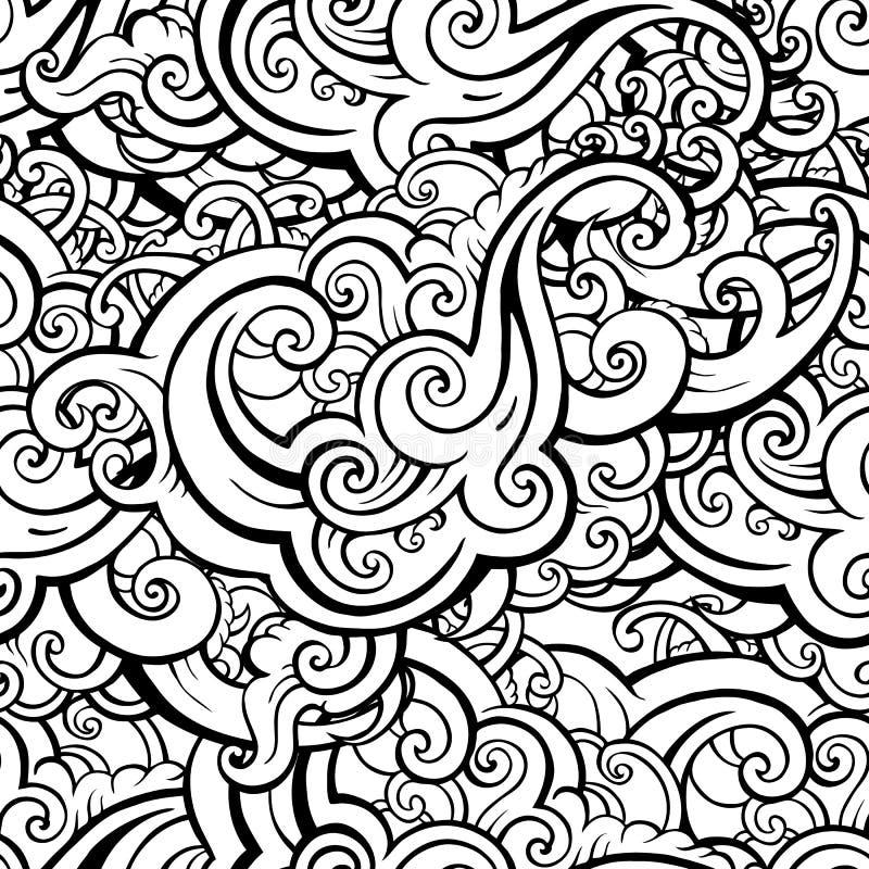Overzees golven naadloos patroon stock illustratie