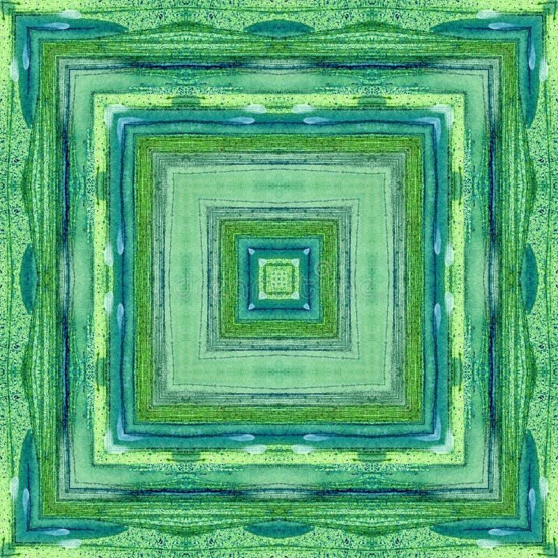 Overzees groen waterverf natuurlijk vierkant naadloos patroon 1 vector illustratie