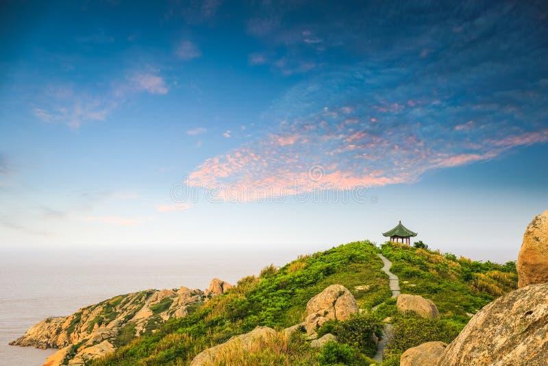 Overzees het Oost- van China in zonsondergang royalty-vrije stock fotografie