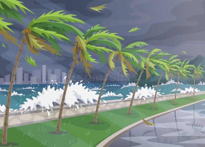 Overzees Kustlandschap tijdens Onweer in Oceaan vector illustratie