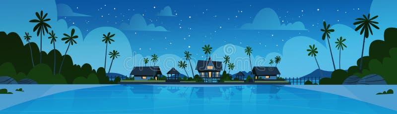 Overzees Kuststrand met Mooi de Kustlandschap van het Villahotel bij de Vakantieconcept van de Nachtzomer stock illustratie