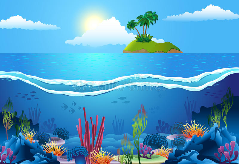 Overzees landschap vector illustratie