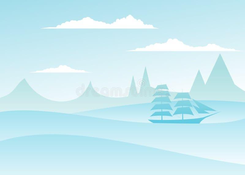 Overzees landschap stock illustratie